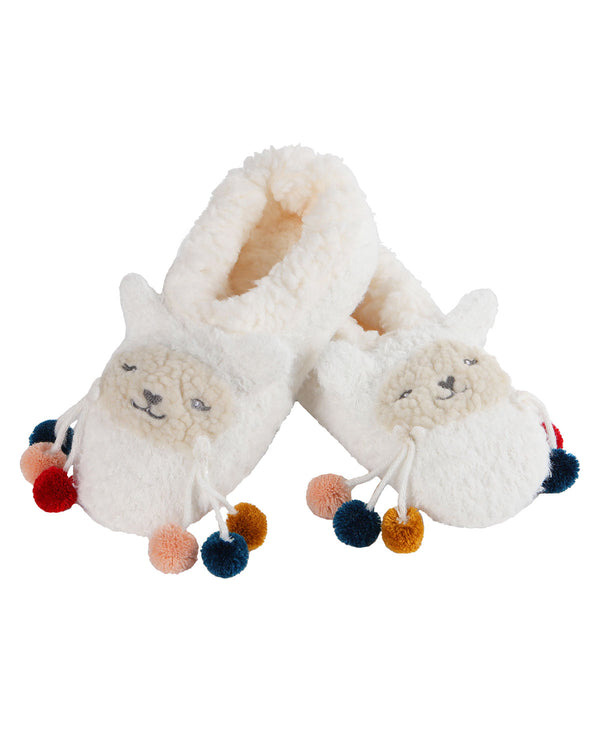Llama Critter Plush Lined Slippers | Socks By MeMoi®  | MZV05559 | White