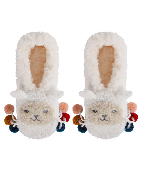 Llama Critter Plush Lined Slippers | Socks By MeMoi®  | MZV05559 | White 1
