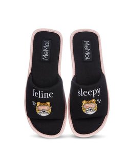 Feline Sleepy Open-Toe Slippers