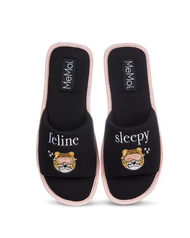 Feline Sleepy Open-Toe Slippers | Bedroom Slippers by MeMoi | Black MZV06327
