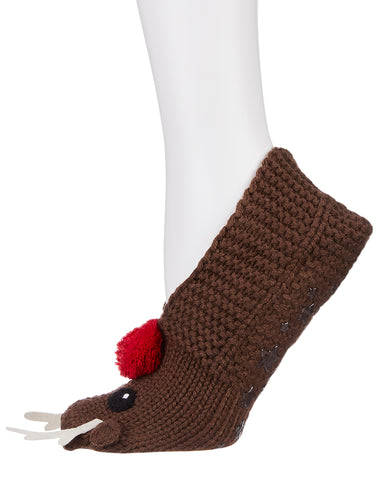 Reindeer Hand Knit Slippers
