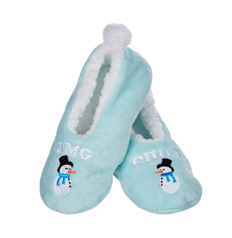 Snowman Chill Sherpa Lined Slippers