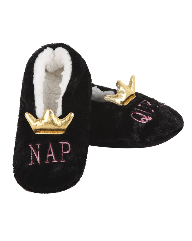 Nap Queen Sherpa Lined Slippers | Slippers By MeMoi®  | MZV05547 | Black