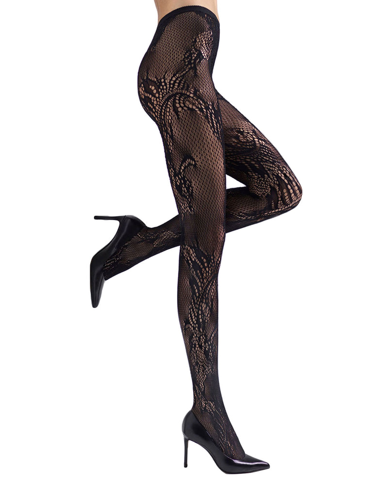 Feather Lace Net Tights