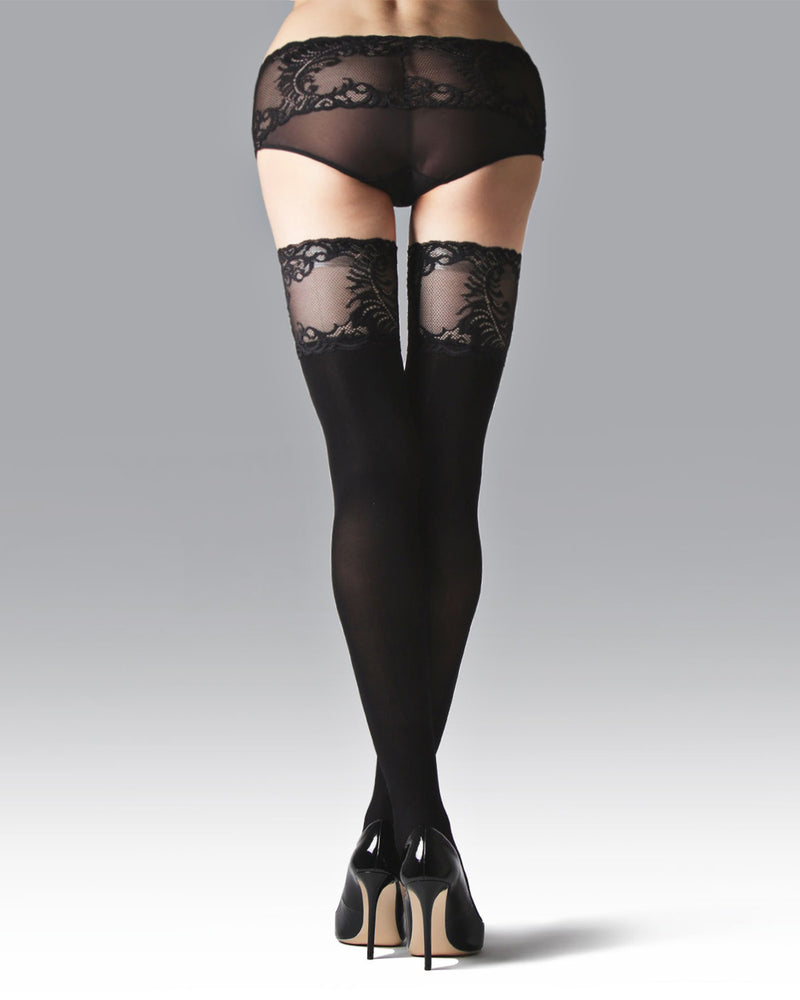 Natori Feathers Opaque Thigh High Stocking