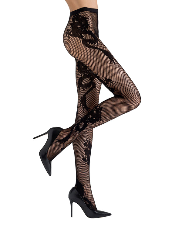 Dragon Toss Patterned Net Tights