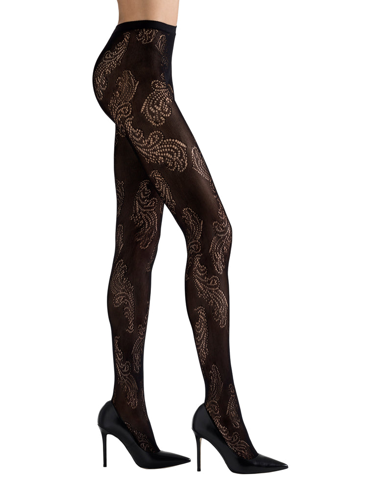 Feather Pattern Net Tights