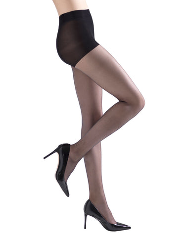 Soft Suede Ultra Sheer Control Top Tights | womens sheer tights by Natori | womens clothing | Nat-610-Black