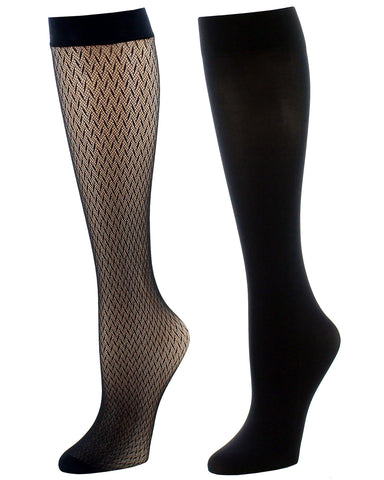 Natori Women's Diamond Net Trouser Socks Two-pack| Womens clothing by Natori | womens Knee high socks | NAT-751-00001-OS