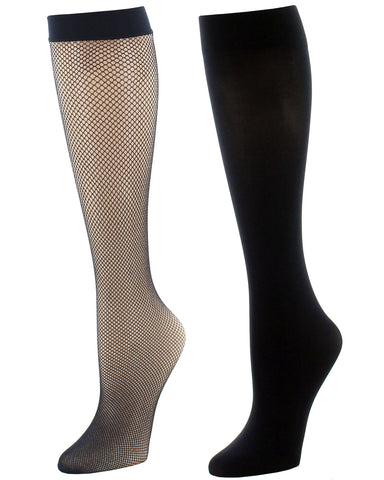 Natori Women's Dotted Net Trouser Socks Two-Pack| Womens clothing by Natori | womens Knee high socks | NAT-756-00001-OS