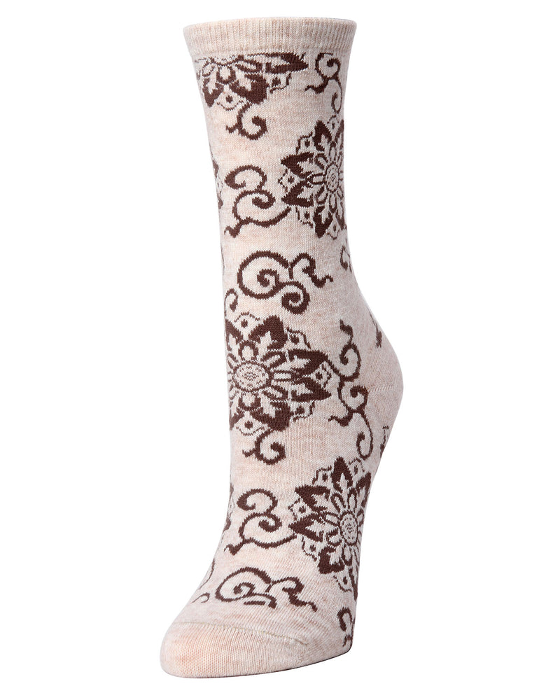 Natori Medallion Wool Blend Crew Socks