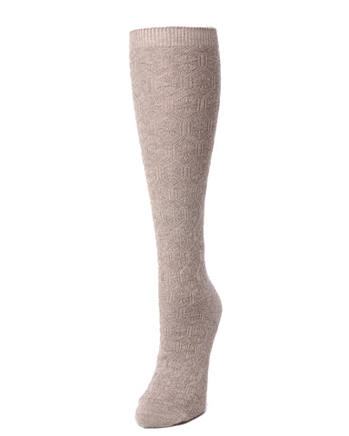 Natori Medallion Knit Wool Blend Knee Socks