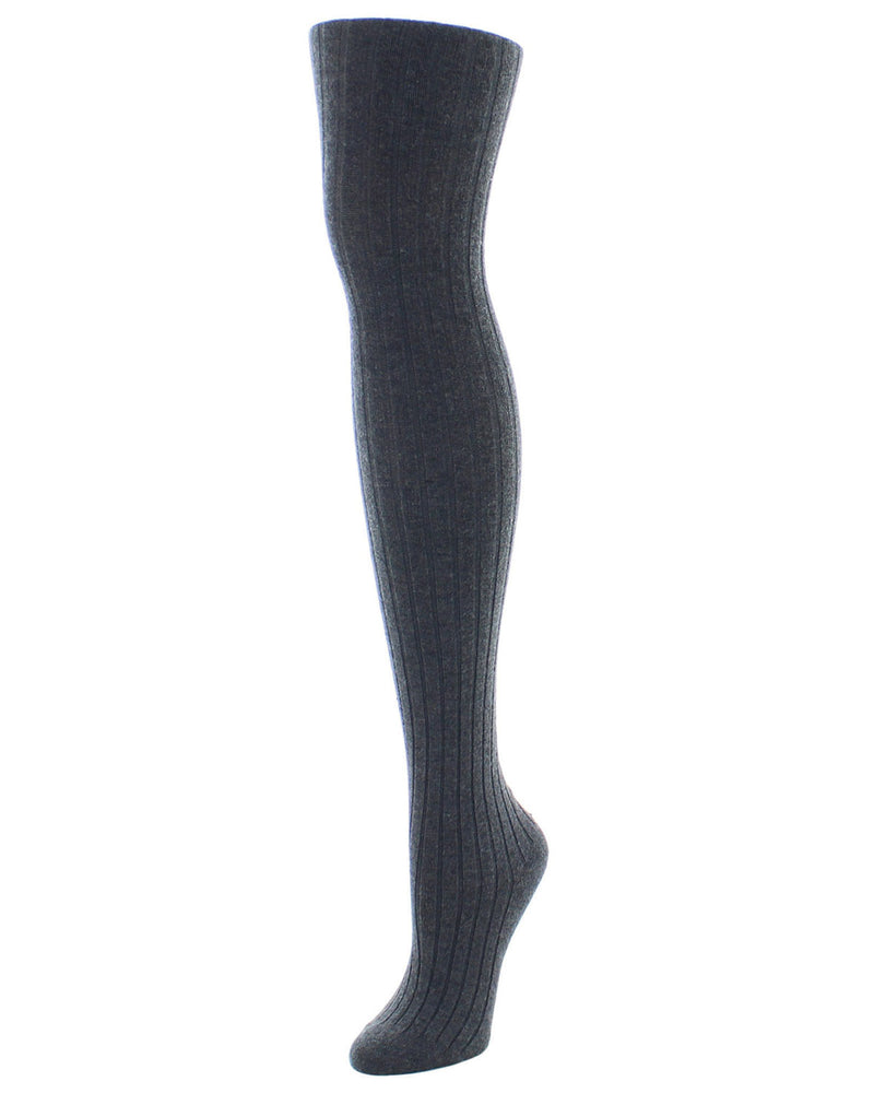 Cashmere Blend Rib Knit Sweater Tights | womens sheer tights by Natori | womens clothing | NTL-100 Dark Gray Heather