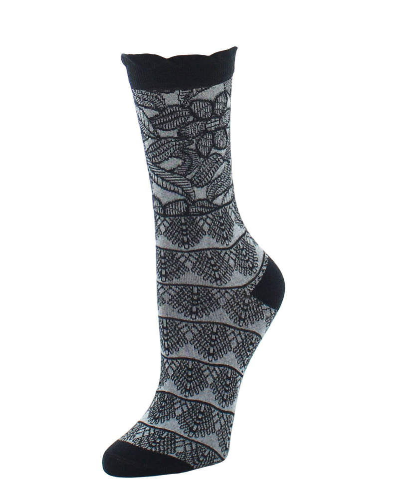 Natori Lace Trellis Cotton Blend Crew Socks