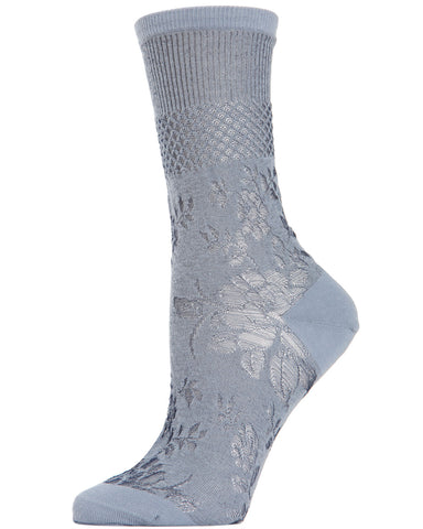 Floral Fields Women's Sheer Crew Socks