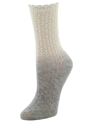 Ombre Cotton Blend Textured Crew Socks