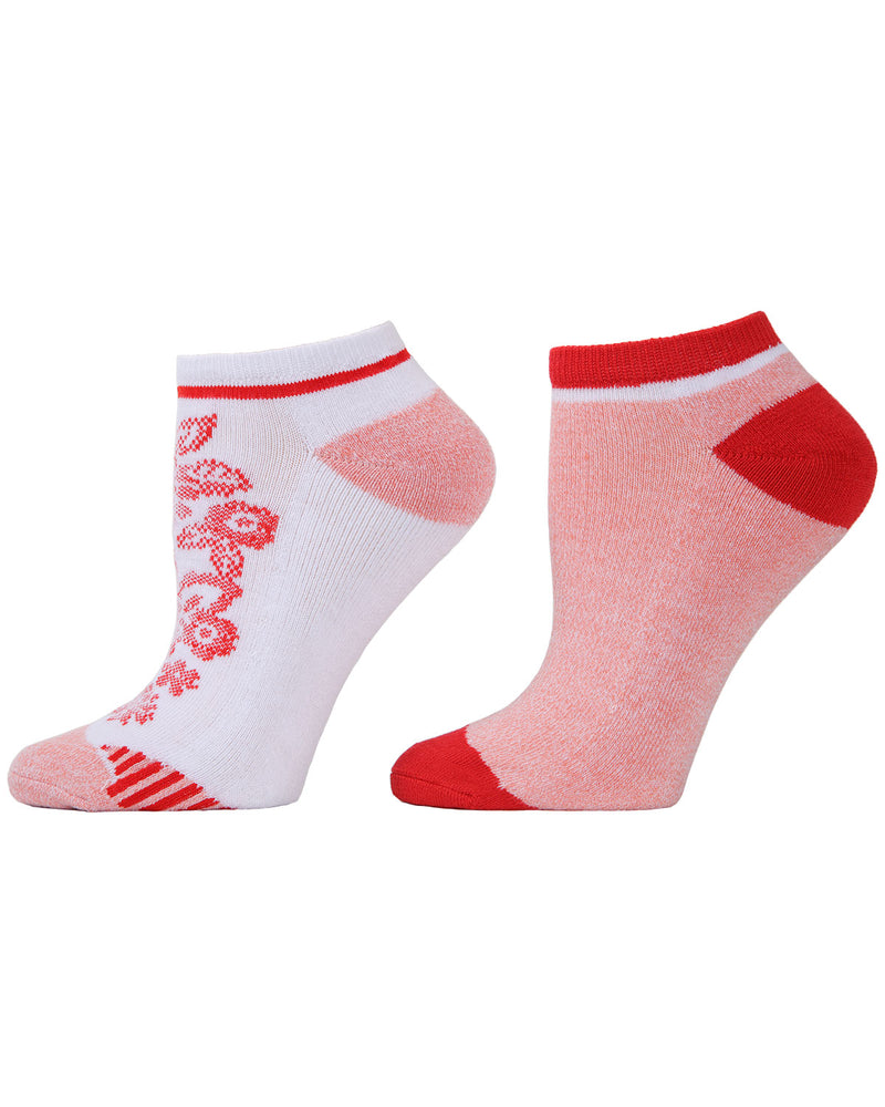 Floral Stripes 2-Pack Cushioned No-Show Socks