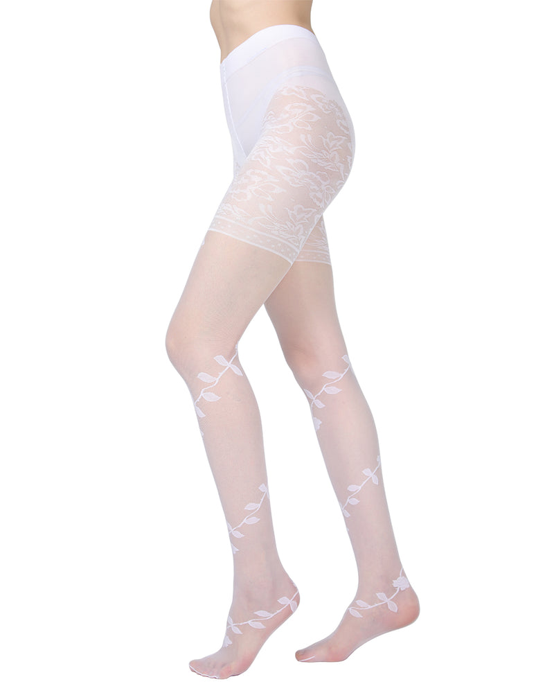 Passion Sheer Control Top Flower Pantyhose | MeMoi Womens Tights Collection | Womens Lingerie/Bridal | womens clothes | Bianco ETS05273 -2