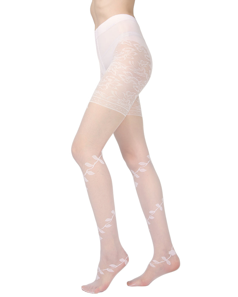 Passion Sheer Control Top Flower Pantyhose | MeMoi Womens Tights Collection | Womens Lingerie/Bridal | womens clothes |  Panna ETS05273 -2