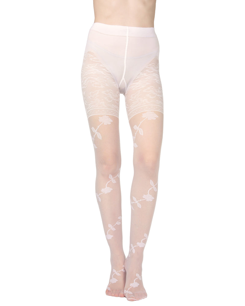Passion Sheer Control Top Flower Pantyhose | MeMoi Womens Tights Collection | Womens Lingerie/Bridal | womens clothes |  Panna ETS05273 -3