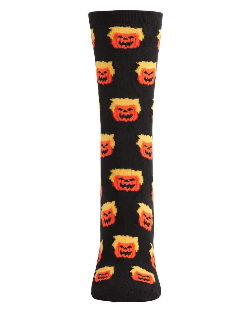 Trumpkin Holiday Crew Socks | Fun Women's Novelty Socks by MeMoi | Trump Halloween Socks (front) | Black MCV05777