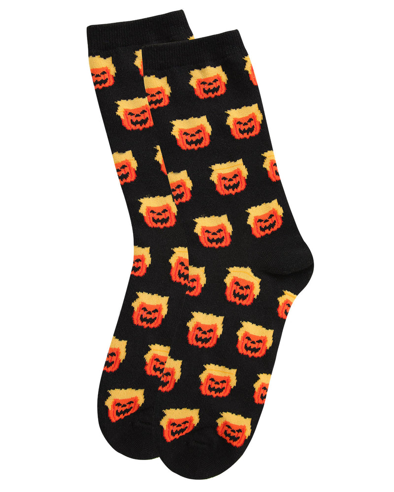 Trumpkin Holiday Crew Socks | Fun Women's Novelty Socks by MeMoi | Trump Halloween Socks (Flat) | Black MCV05777