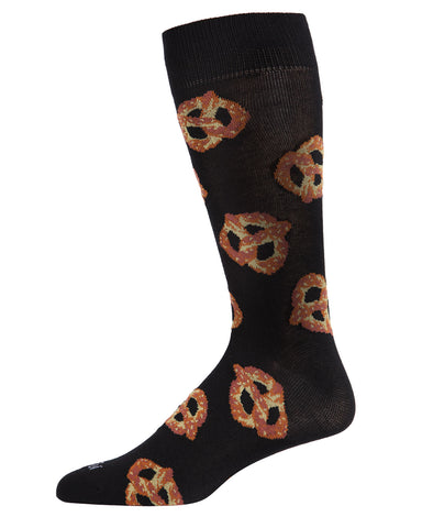Pretzels Bamboo Blend Men's Crew Socks | Fun Mens Novelty socks by MeMoi | ACV05896- black