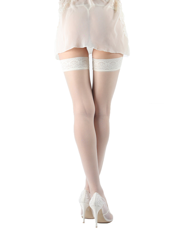 Romance Silky Sheer Thigh High Stockings | MeMoi Womens Tights Collection | Womens Lingerie/Bridal |  Panna EXS05274 -5