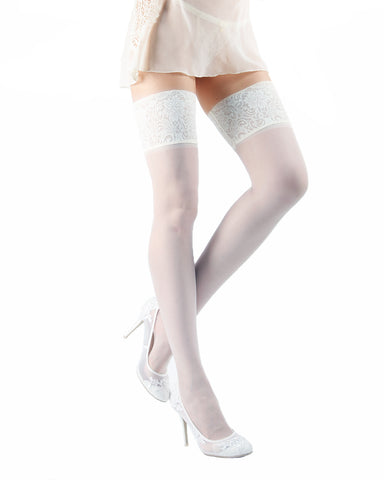 Sensuale Silky Sheer French Lace Thigh High Stocking | MeMoi Womens Tights Collection | Womens Lingerie/Bridal |  Bianco EXS05271