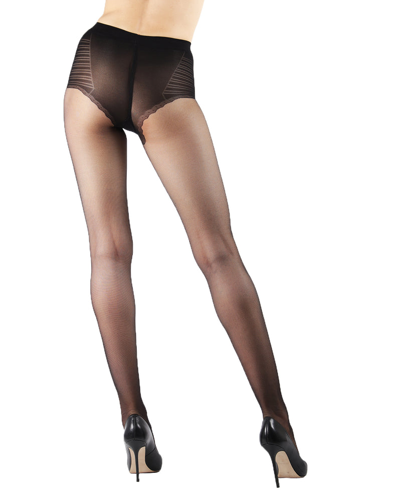 Sheer Low Waist Bikini Brief Tights | Sheer Tights by Levante® | SHEER LTW | Nero 1