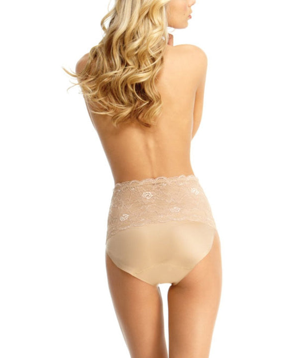 MeMoi Lace Shaper Brief | Women's Sexy Lace Shapewear Collection (Rear) | Nude SLU-101