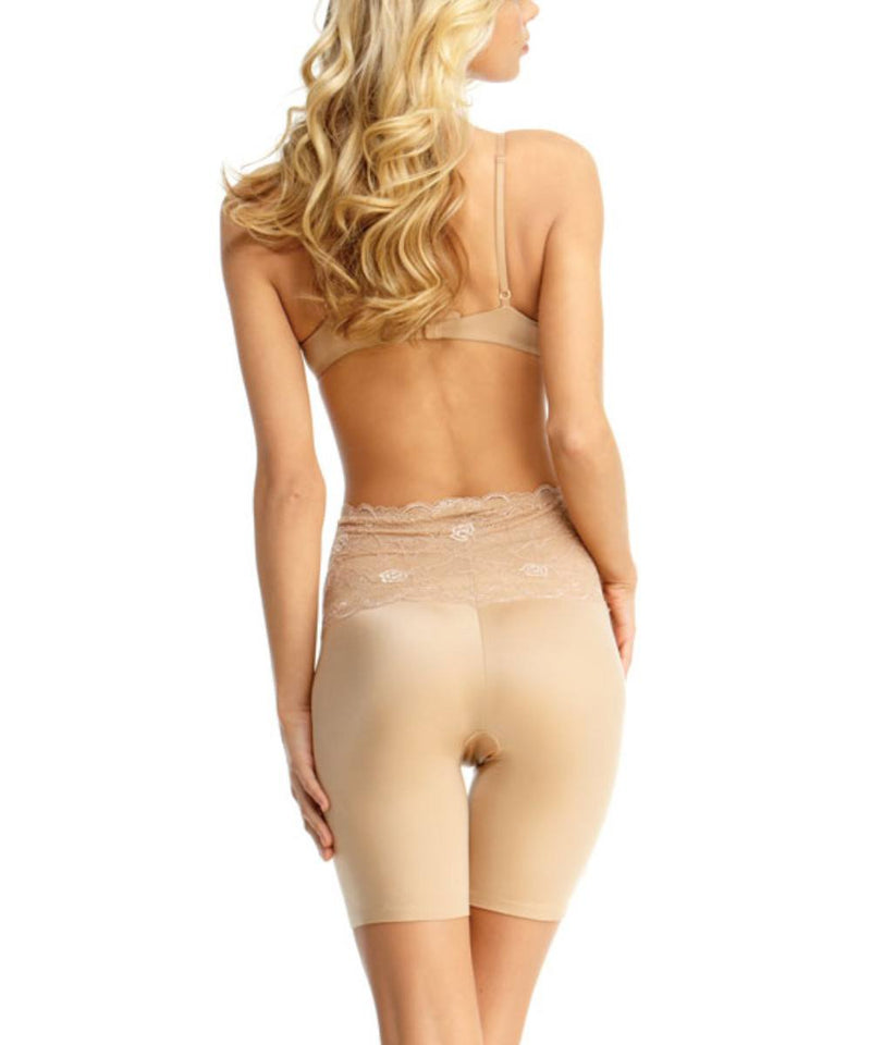 MeMoi Lace Shaping Shorts | Women's Sexy Lace Shapewear Collection | Mid-Thigh Slimmer Lace Smooth Body Shaper (Rear) | Nude SLU-108