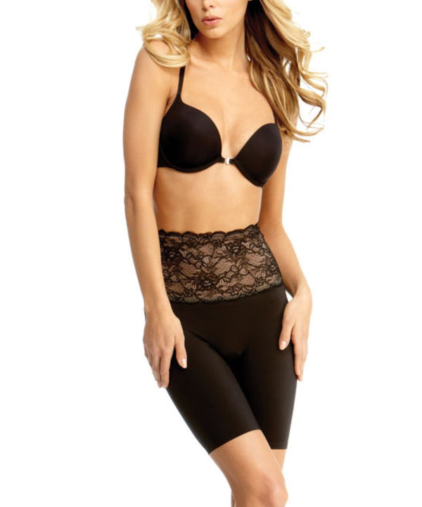MeMoi Lace Shaping Shorts | Women's Sexy Lace Shapewear Collection | Mid-Thigh Slimmer Lace Smooth Body Shaper (Front) | Black SLU-108