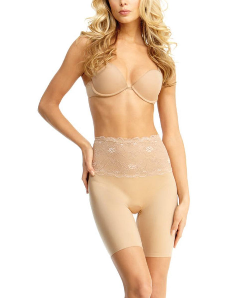 MeMoi Lace Shaping Shorts | Women's Sexy Lace Shapewear Collection | Mid-Thigh Slimmer Lace Smooth Body Shaper (Front) | Nude SLU-108