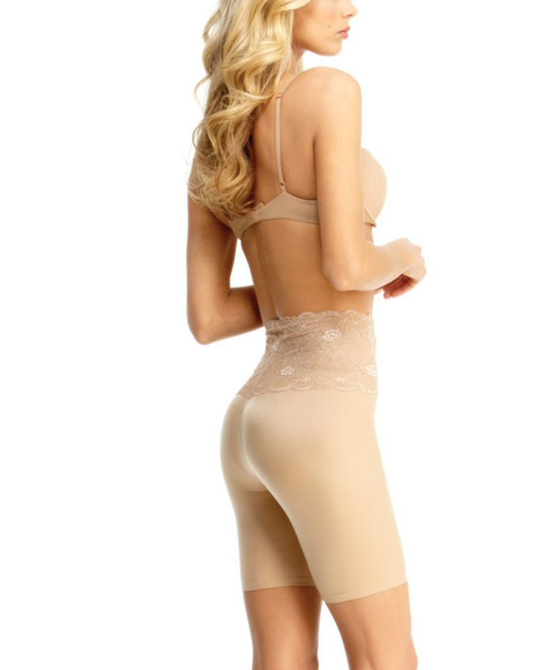 MeMoi Lace Shaping Shorts | Women's Sexy Lace Shapewear Collection | Mid-Thigh Slimmer Lace Smooth Body Shaper (Side) | Nude SLU-108