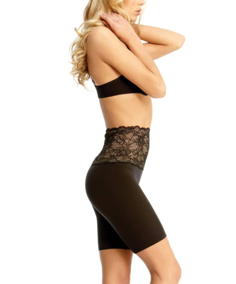 MeMoi Lace Shaping Shorts | Women's Sexy Lace Shapewear Collection | Mid-Thigh Slimmer Lace Smooth Body Shaper (Side) | Black SLU-108