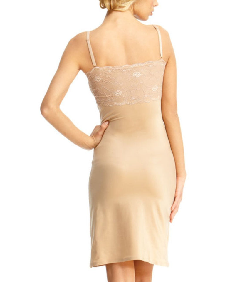 MeMoi Lacey Shaper Slip | Women's Sexy Lace Shapewear Collection (Rear) | Nude SLU-155