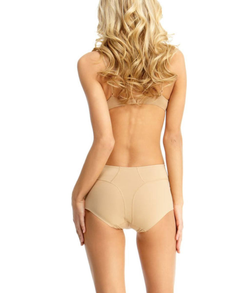 MeMoi Ultra Control Shaping Brief | Women's Top Compression Shapewear (Rear) | Nude SMX-100