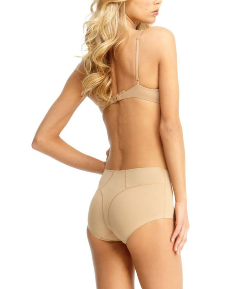 MeMoi Ultra Control Shaping Brief | Women's Top Compression Shapewear (Rear Side) | Nude SMX-100