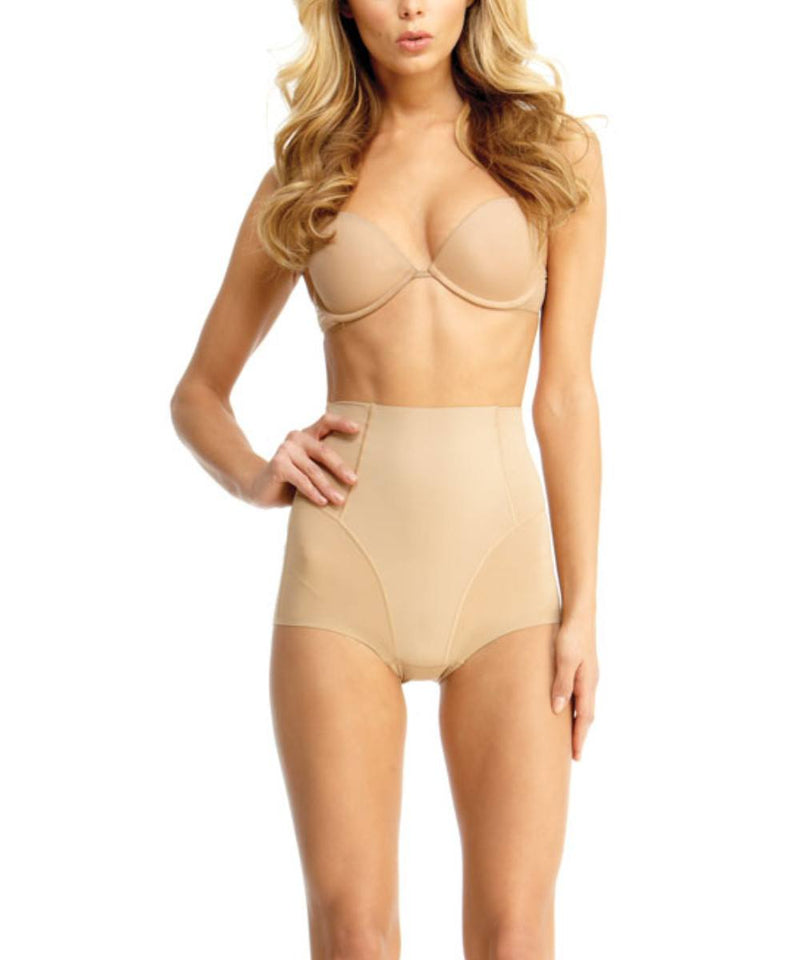 MeMoi High Waisted Shaping Briefs | Women's Top Compression Shapewear Panties  (Front) | Nude SMX-100