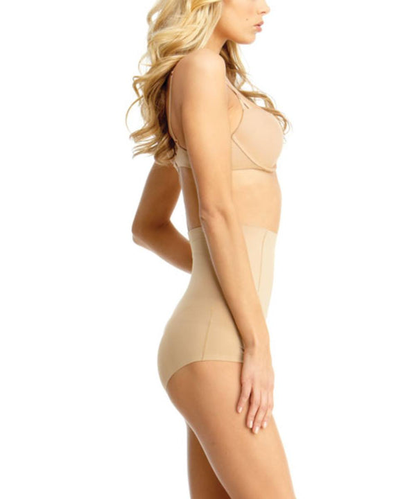 MeMoi High Waisted Shaping Briefs | Women's Top Compression Shapewear Panties  (Side) | Nude SMX-100