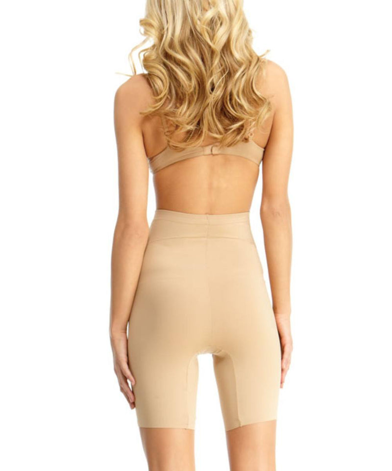 MeMoi High Waisted Thigh Shaper | Women's Top Leg Compression Shapewear Shorts (Rear) | Nude SMX-108
