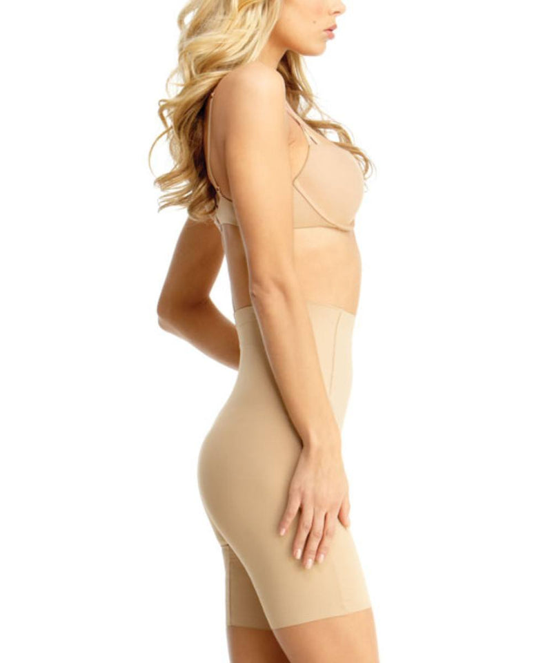 MeMoi High Waisted Thigh Shaper | Women's Top Leg Compression Shapewear Shorts (Side) | Nude SMX-108