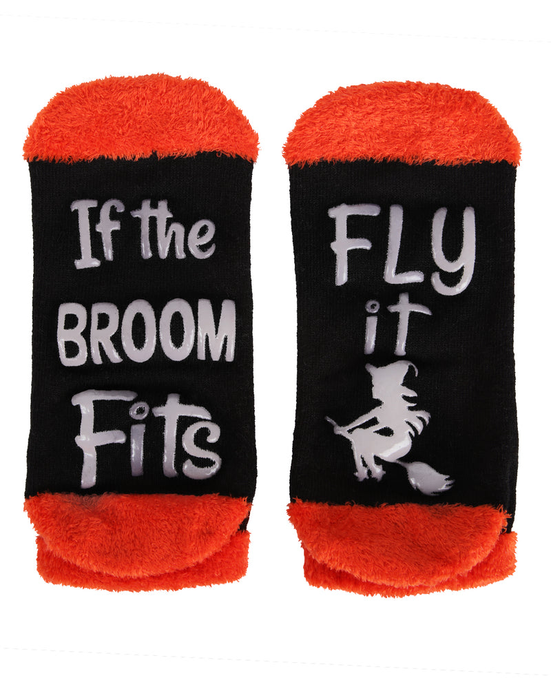 MeMoi If the Broom Fits Low Cut Socks | Cute Fun Crazy Halloween Novelty Socks | Women's Black MF7-947 (Flat Bottom)