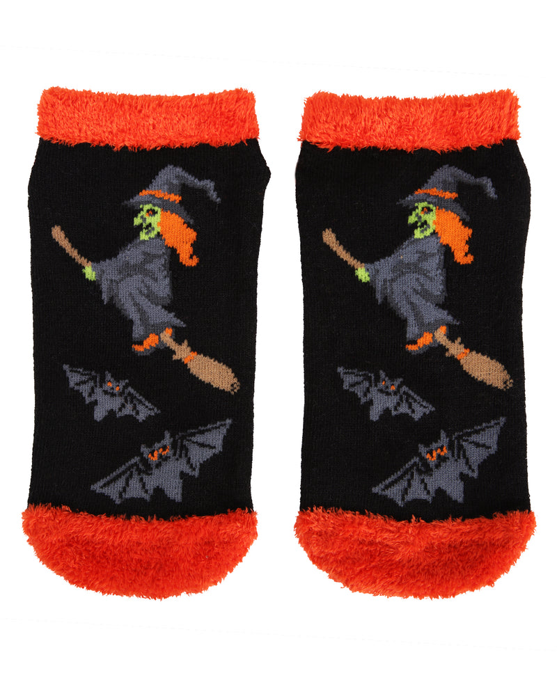 MeMoi If the Broom Fits Low Cut Socks | Cute Fun Crazy Halloween Novelty Socks | Women's Black MF7-947 (Flat Front)