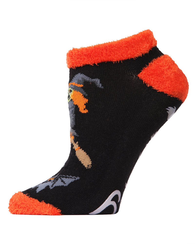 MeMoi If the Broom Fits Low Cut Socks | Cute Fun Crazy Halloween Novelty Socks | Women's Black MF7-947 (Side)