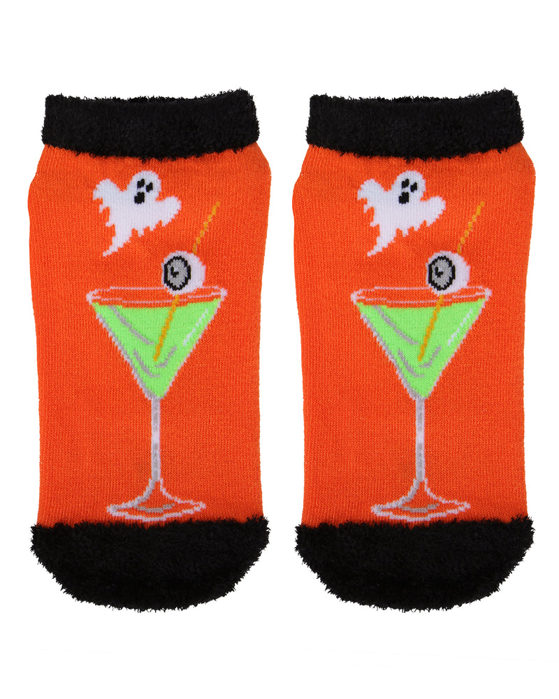 MeMoi Boos Cruise Low-Cuts Socks | Cute Fun Crazy Halloween Novelty Socks | Women's Orange SPF8-0005 (Flat Front)