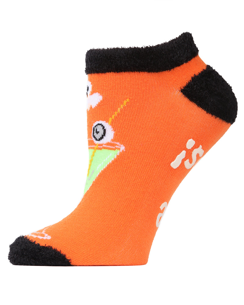 MeMoi Boos Cruise Low-Cuts Socks | Cute Fun Crazy Halloween Novelty Socks | Women's Orange SPF8-0005 (Side)