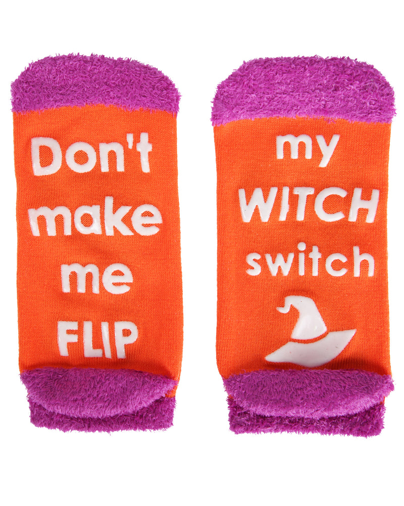 MeMoi Witch Switch Low Cut Socks | Cute Fun Crazy Halloween Novelty Socks | Women's Orange SPF8-0007 (Flat Bottom)