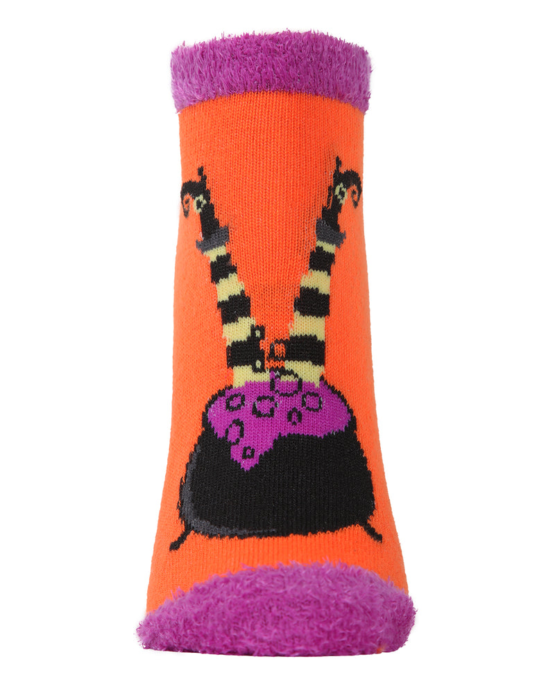 MeMoi Witch Switch Low Cut Socks | Cute Fun Crazy Halloween Novelty Socks | Women's Orange SPF8-0007 (Front)